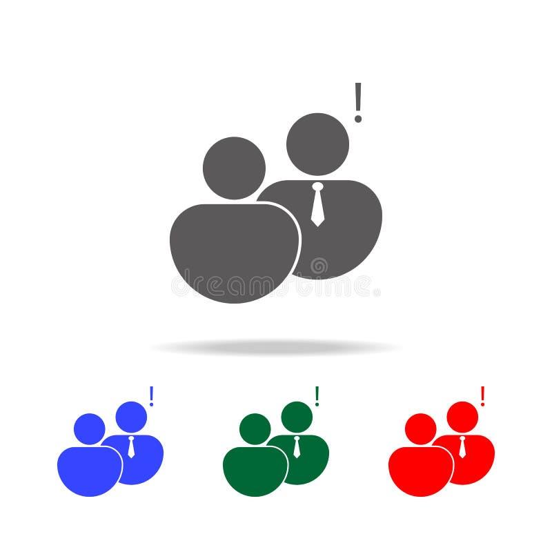 communicatie met het hoofdpictogram van het uitroepteken Elementen van gesprek in multi gekleurde pictogrammen Het grafische ontw royalty-vrije illustratie