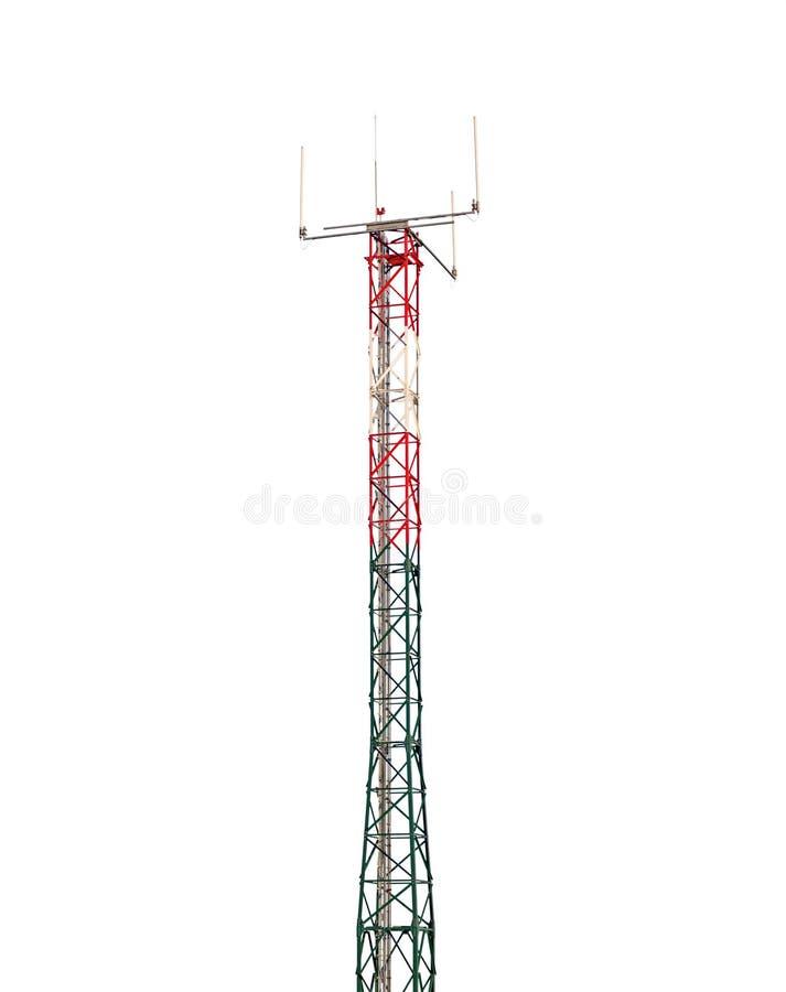 Communicatie toren op wit stock afbeelding