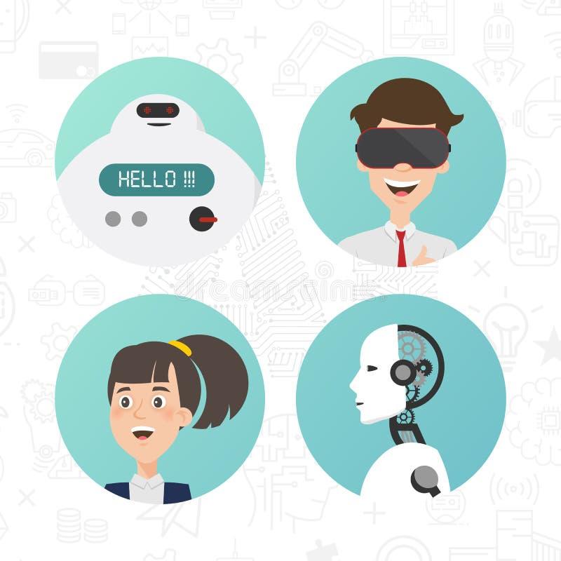 Communicatie tussen robots en mensenkarakter royalty-vrije illustratie
