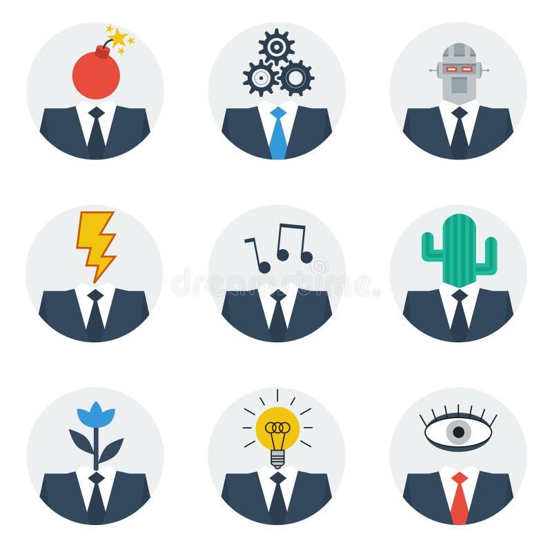 Communicatie vaardighedenconcept, avatars van het mensenkarakter royalty-vrije illustratie