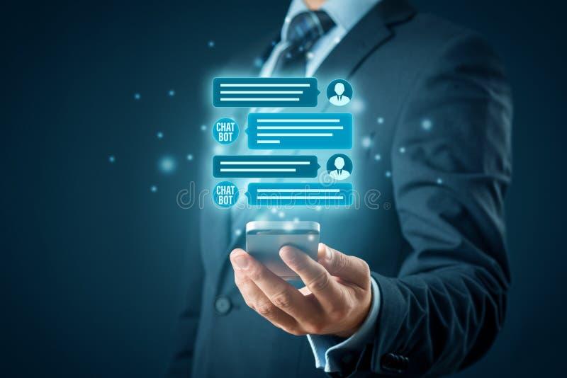 Communicatie van de Chatbotkunstmatige intelligentie concept stock fotografie