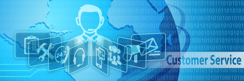 Communicatie van de klantendienst Banner stock illustratie