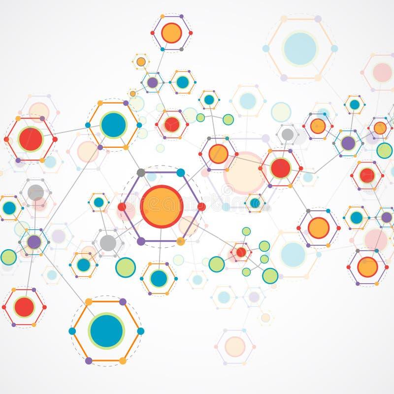 Communicatie van de kleurentechnologie achtergrond stock illustratie