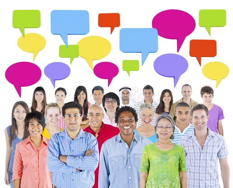 Communicatie van diversiteitsmensen Communautair Concept stock foto