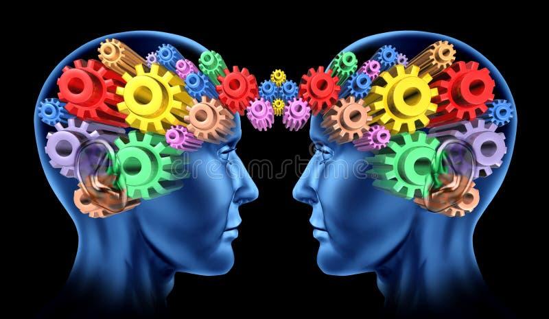Communicatie van hersenen hoofdvoorzien van een netwerk royalty-vrije illustratie