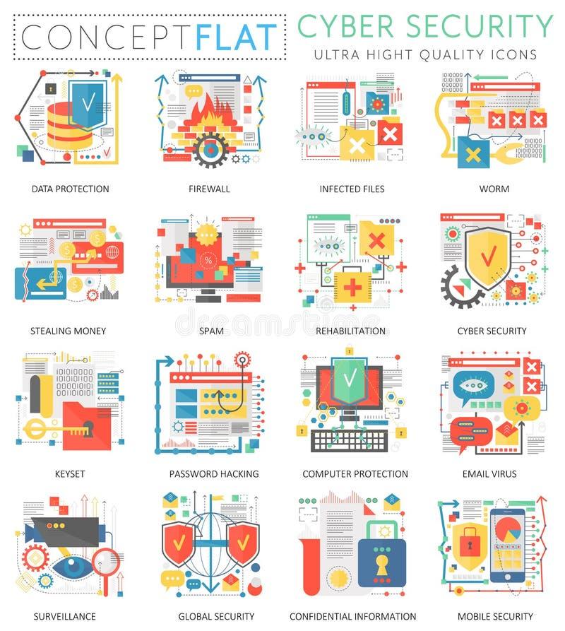 Communicatie van het Infographics miniconcept Online veiligheid, de pictogrammen van de computerbescherming voor Web De kleur van vector illustratie