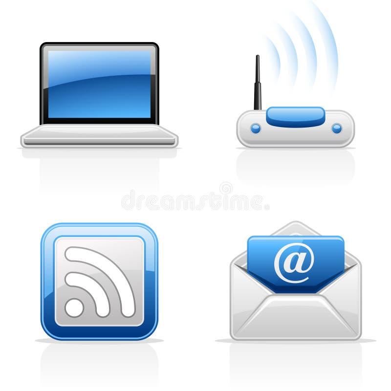 Communicatie van Internet pictogrammen stock illustratie