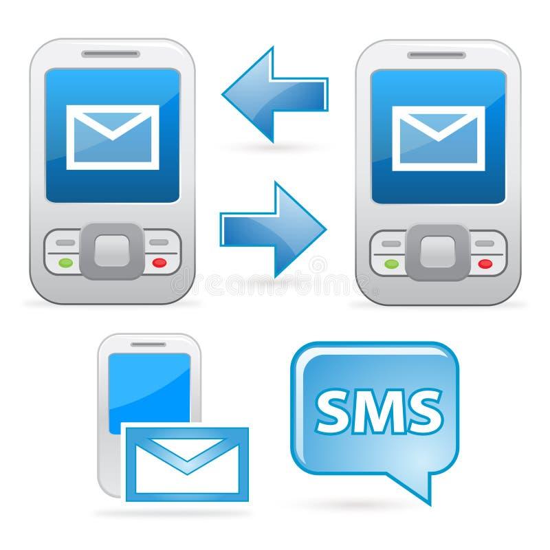 Communicatie van Sms pictogrammen stock illustratie