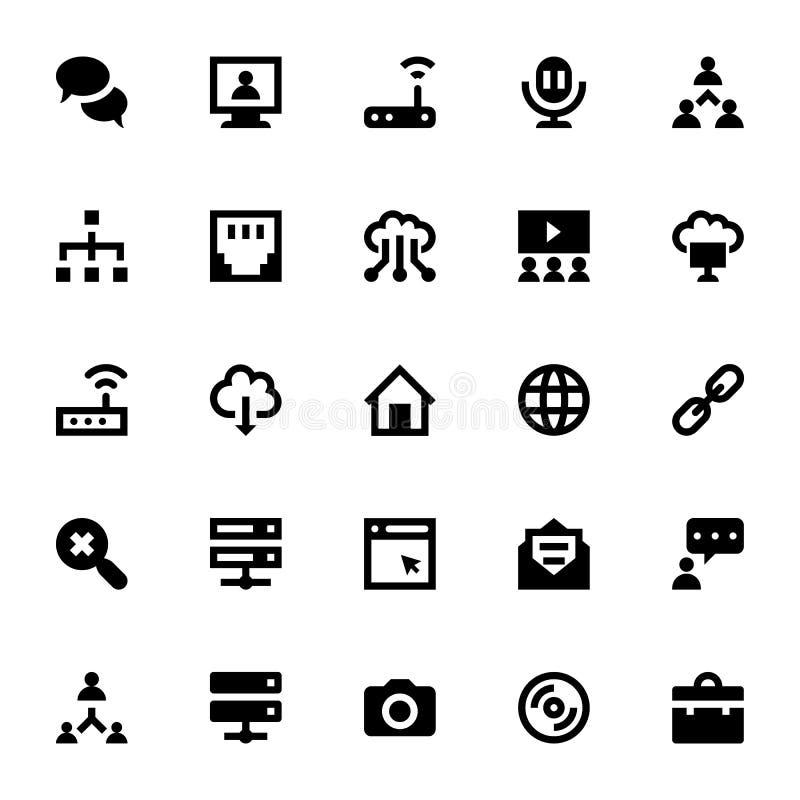 Communicatie Vectorpictogrammen 4 van Internet, van het Voorzien van een netwerk en vector illustratie