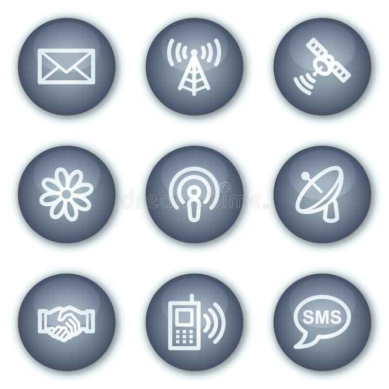 Communicatie Webpictogrammen, minerale cirkelknopen stock illustratie
