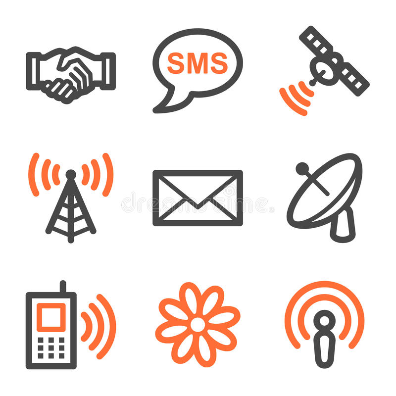 Communicatie Webpictogrammen, oranje en grijze contour s royalty-vrije illustratie