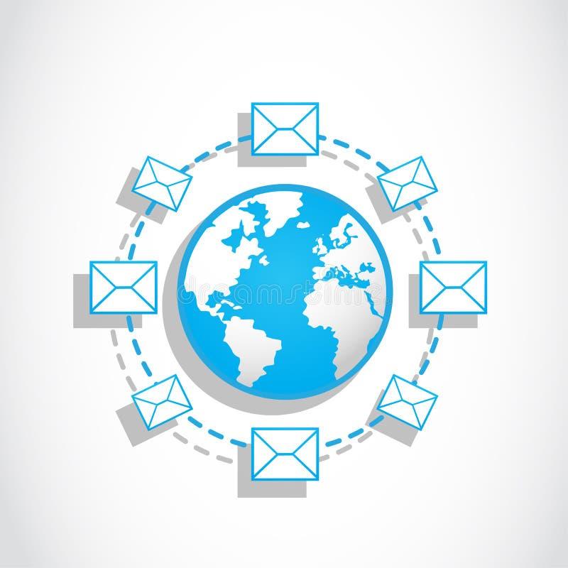 Communicatie werelde-mail overseinen stock illustratie