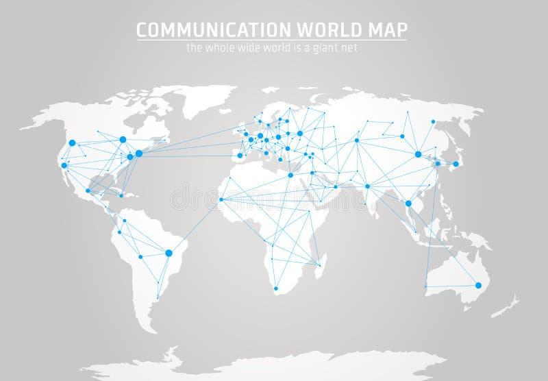 Communicatie wereldkaart royalty-vrije illustratie