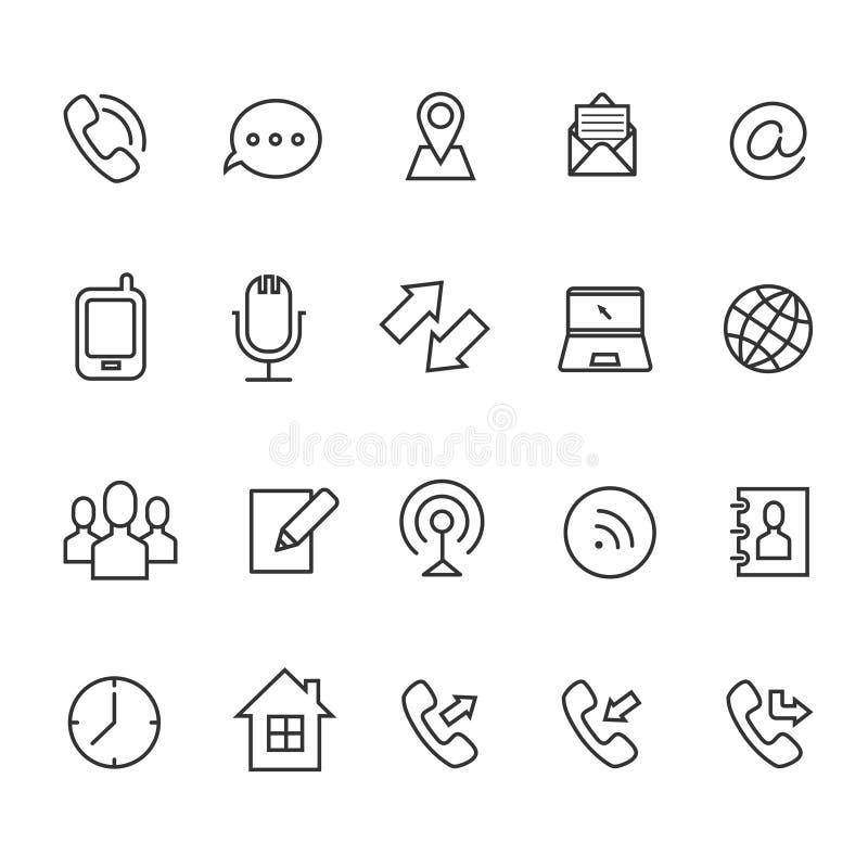 Communicatielijn vectorpictogrammen voor adreskaartje vector illustratie