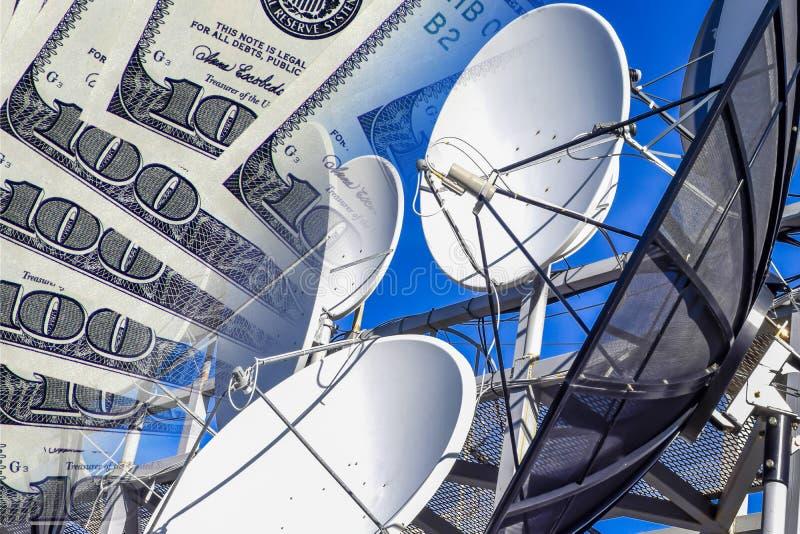 Communicatiemiddelen en televisie een achtergrond van geld stock afbeelding