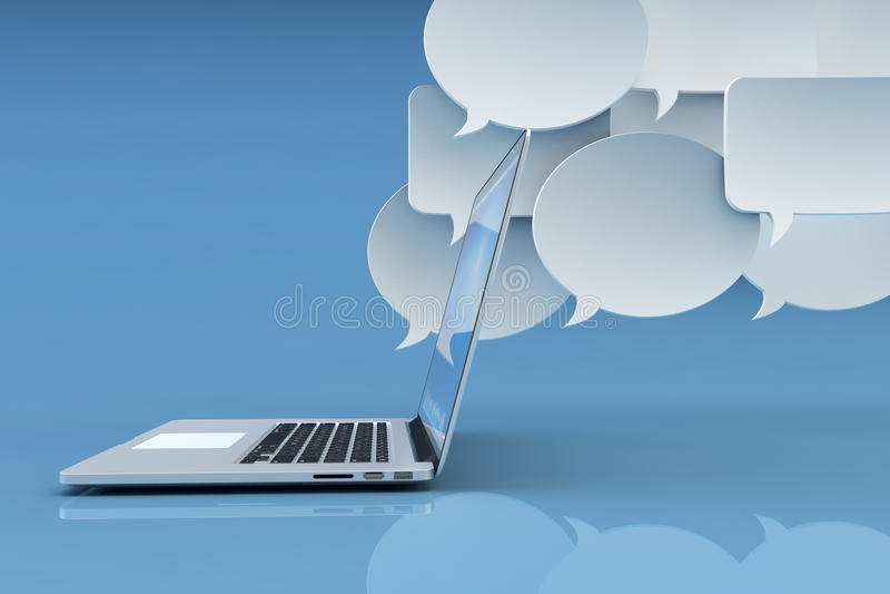Communicatietechnologie, sociaal voorzien van een netwerk, Internet en online overseinenconcept stock illustratie