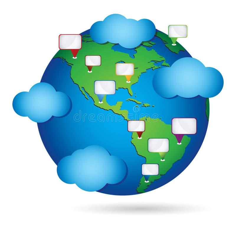 Communicating community concept. Global communications of international community vector illustration