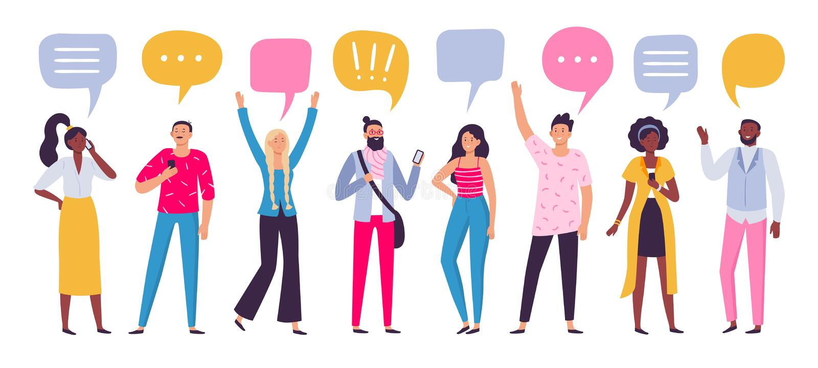 Communicating people. Chat dialog communication, smartphone call talking or speaking people group vector illustration stock illustration