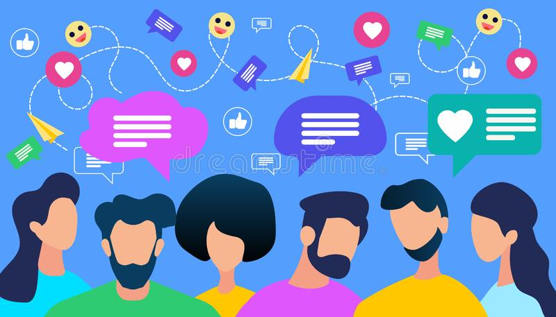 Communicating People Crowd with Speech Bubble. And Social Media Icons on Blue Background. Young Faceless Men and Women Chatting, Texting, Like Comments. Simple stock illustration