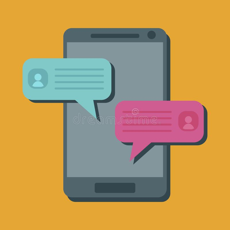 Communicating people with mobile devices, phones, smartphones. This concept can be applied to social networks, mobile phones, websites, web banners, printed royalty free illustration