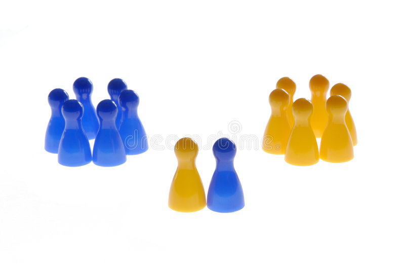Communication. Play figures with symbol content for the business royalty free stock photo
