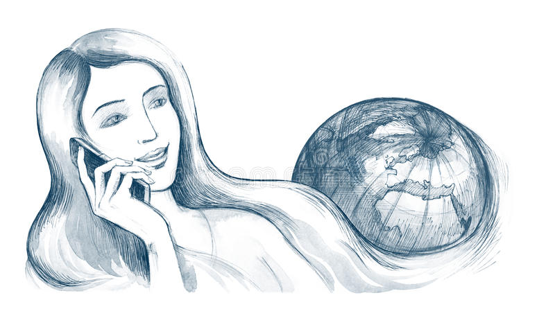 Communication. Woman colling by mobile phone over the world royalty free illustration