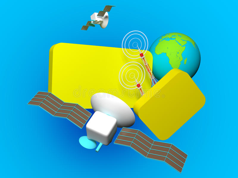 Communication. 3d rendering image with clipping path stock illustration
