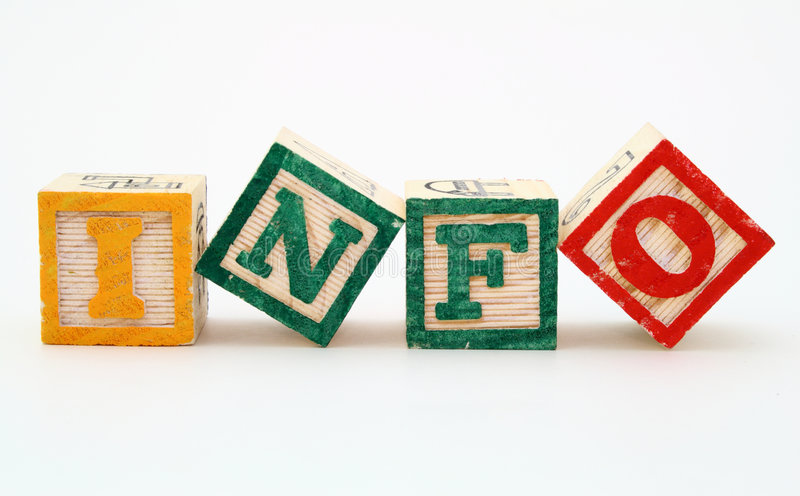 Communication. Alphabet blocks forming the word info on a white surface royalty free stock images
