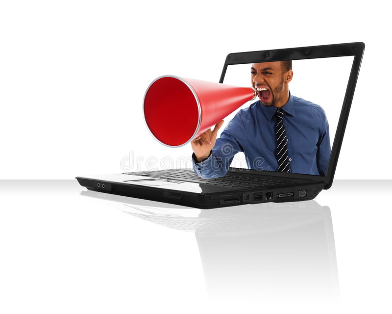 Download Communication stock image. Image of person, computer, megaphone - 4969591