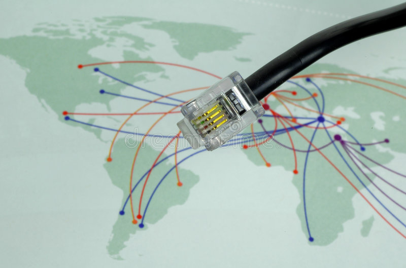 Communication. Telephone Cable With World Map In Background
