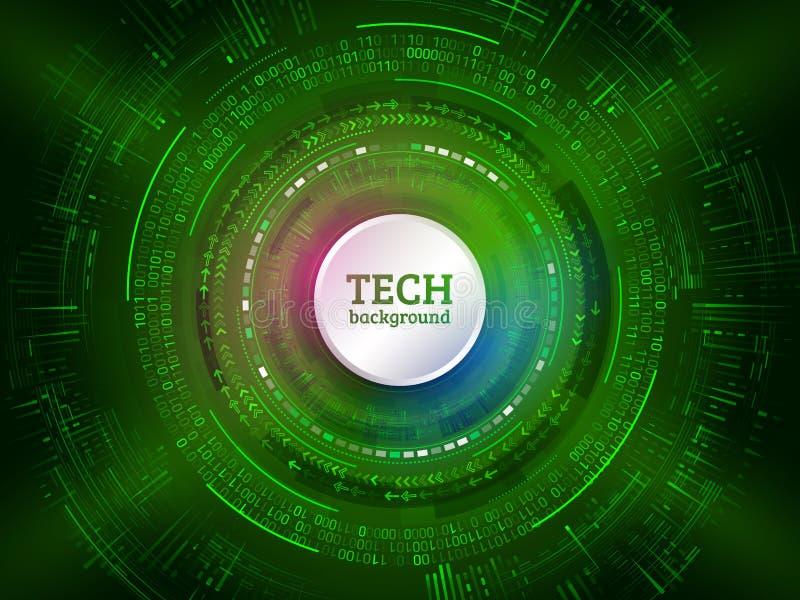 Communication abstraite de technologie sur le fond vert Salut-te illustration libre de droits