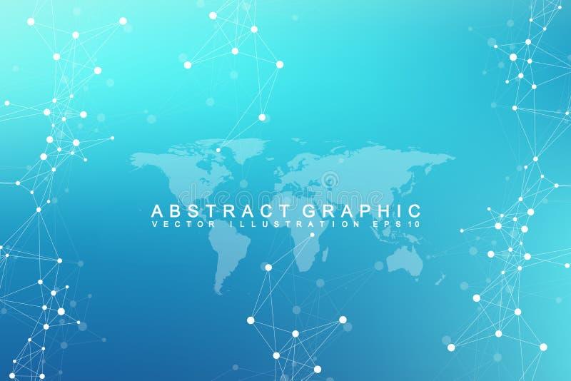 Communication abstraite graphique virtuelle de fond avec la carte du monde Contexte de perspective de profondeur Données numériqu illustration stock