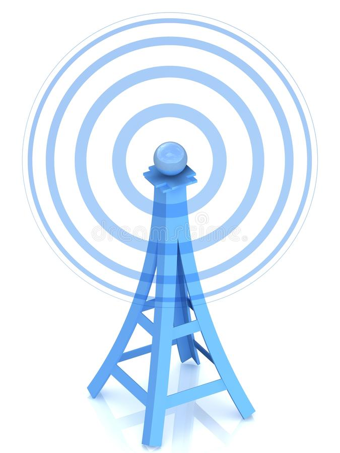 Communication antenna tower stock illustration
