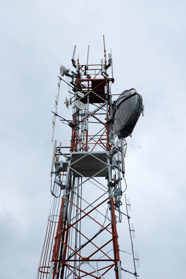 Communication antenna tower with sky background royalty free stock photography