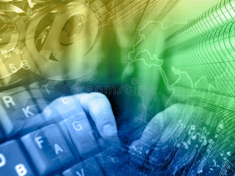 Digital background. Communication background - digits, hands and map royalty free stock photo