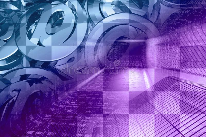Digital background. Communication background - digits in the tunnel and mail signs stock image