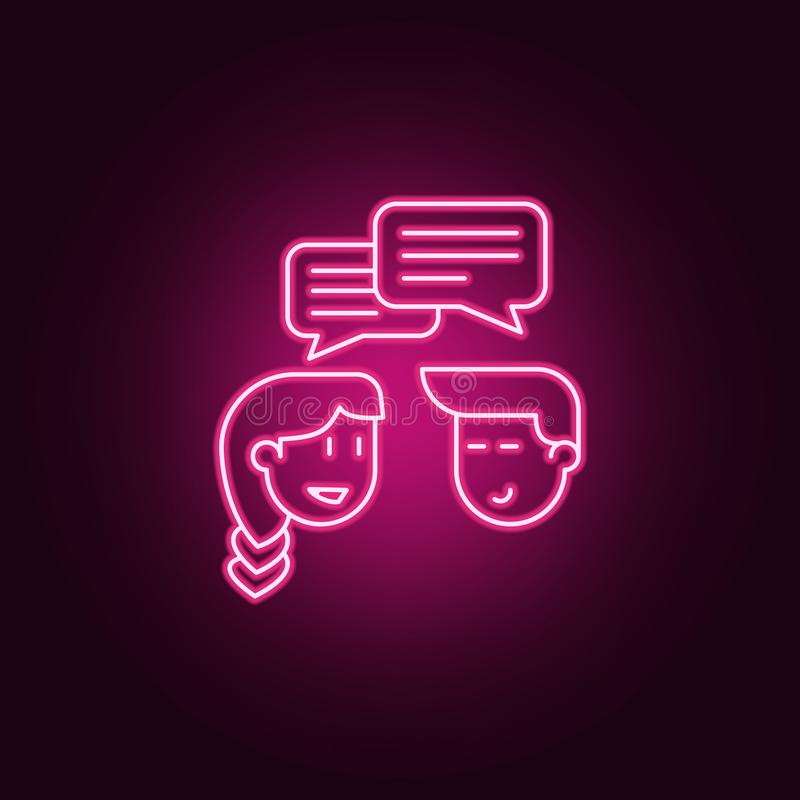 communication between boy and girl icon. Elements of Friendship in neon style icons. Simple icon for websites, web design, mobile stock illustration