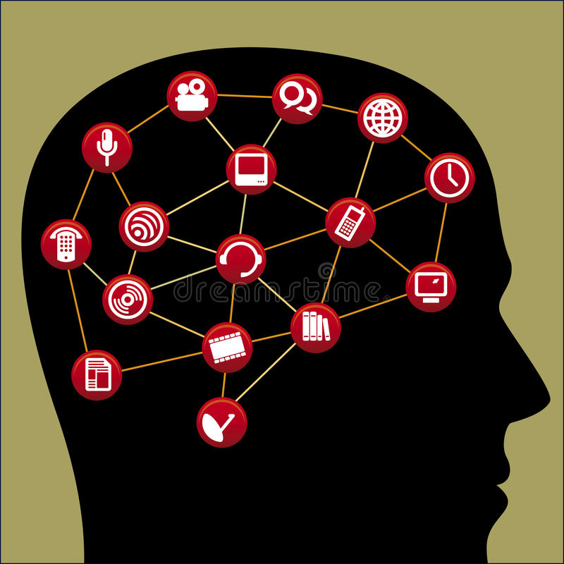 Communication brain vector illustration