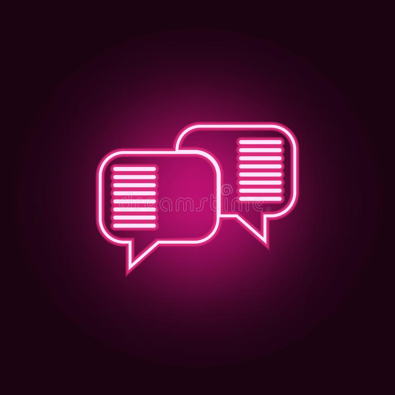 communication bubbles icon. Elements of Conversation and Friendship in neon style icons. Simple icon for websites, web design, royalty free illustration