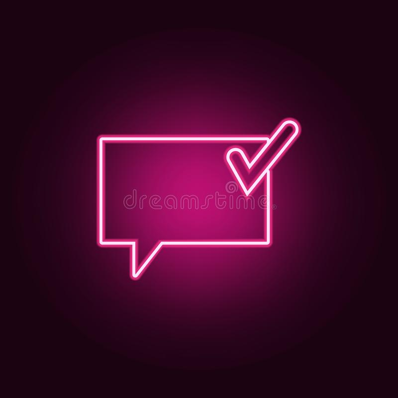 Communication bubbles with a sign ok icon. Elements of Web in neon style icons. Simple icon for websites, web design, mobile app,. Info graphics on dark royalty free illustration