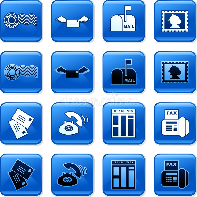 Communication buttons. Collection of blue square communication rollover buttons royalty free illustration