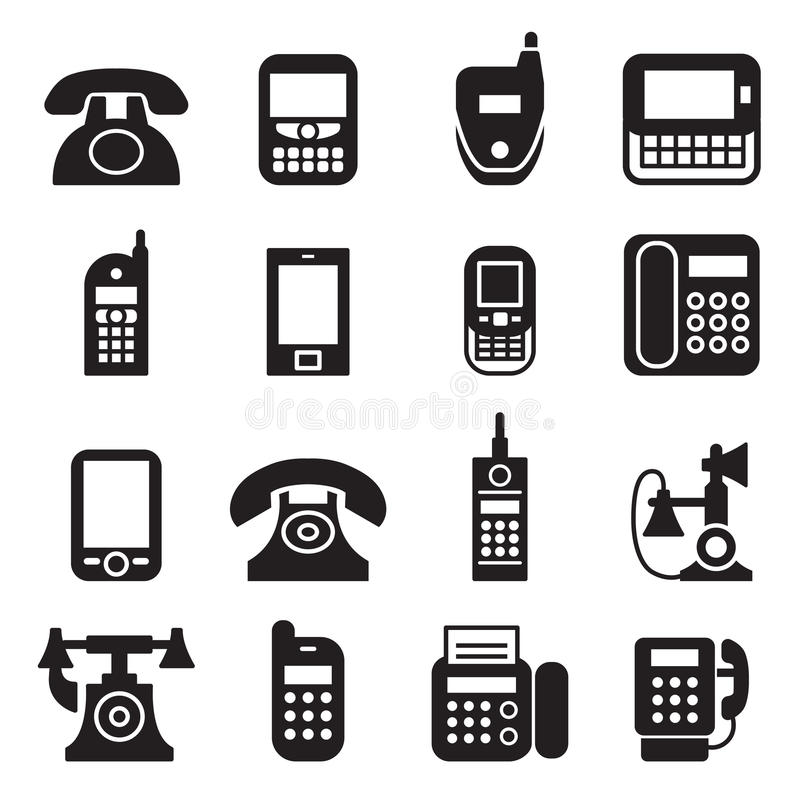 Communication, call, phone vintage, retro telephone icons. Communication, call, phone vintage, retro telephone Set Vector Illustration Graphic Design vector illustration