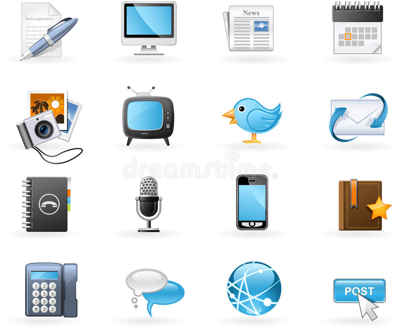 Download Communication Channels Icon Set Stock Vector - Image: 16720039
