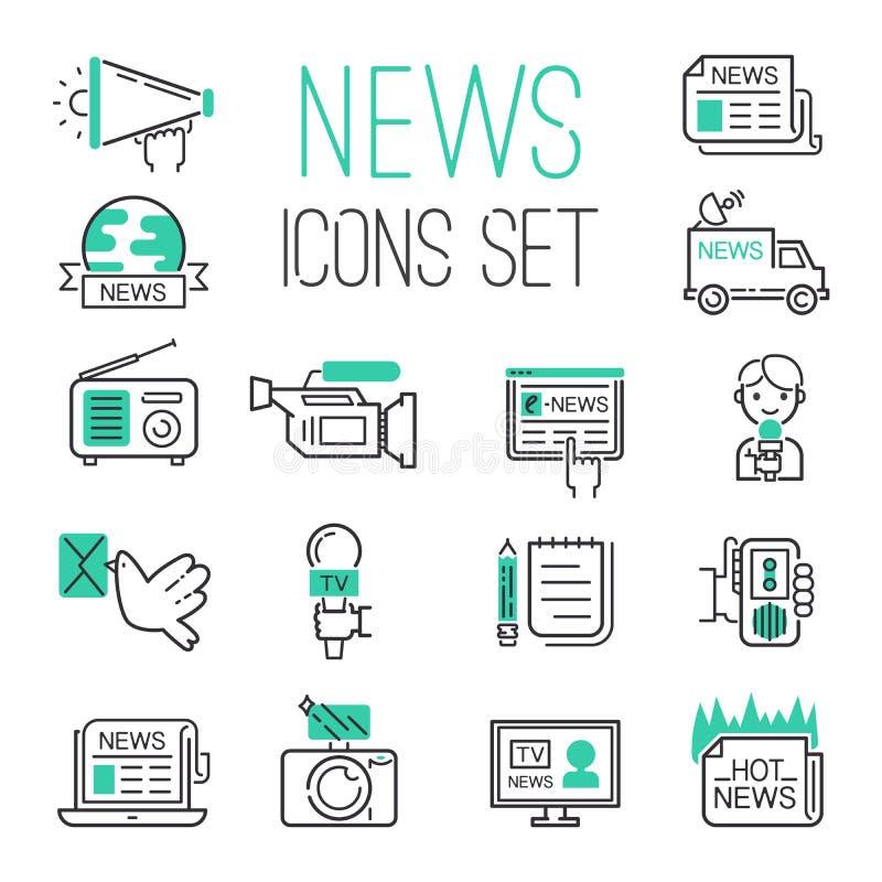 Communication chaude de noir d'ensemble d'actualités du media TV de journalisme illustration libre de droits