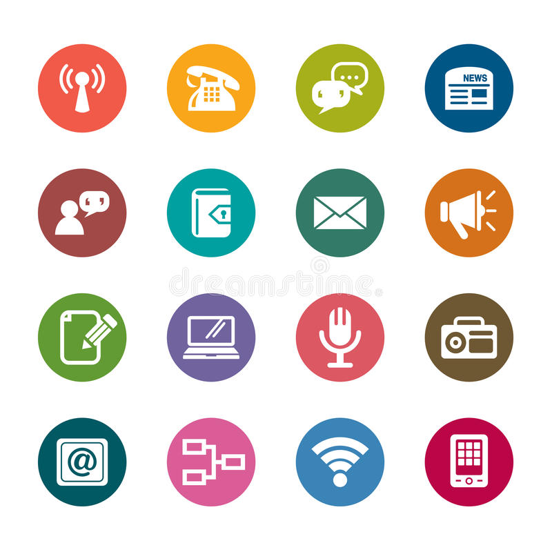 Communication Color Icons. A collection of different kinds of communication color icons. It contains hi-res JPG, PDF and Illustrator 9 files royalty free illustration