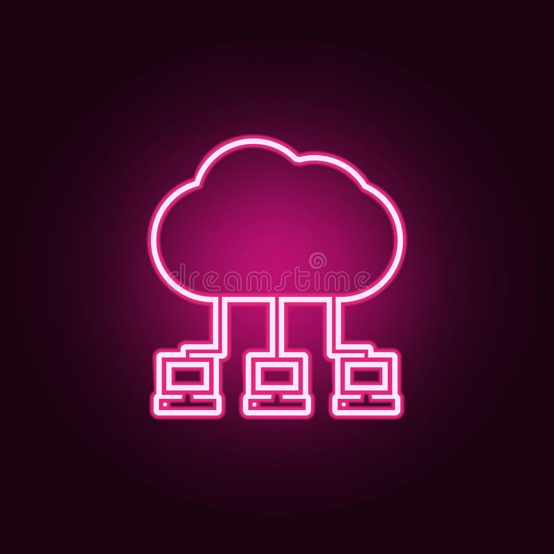 communication of computers with the cloud icon. Elements of Web in neon style icons. Simple icon for websites, web design, mobile royalty free illustration