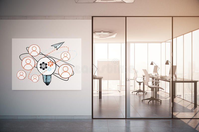 Communication concept. Contemporary office interior with workplace, city view and creative business sketch. Filtered image. Communication concept. 3D Rendering royalty free stock photos