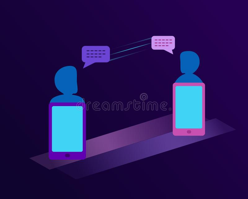 Communication concept. Digital Tablet, Portable Information Device, Smart Phone, Telephone. Dialogue, contact, chatting conversati vector illustration