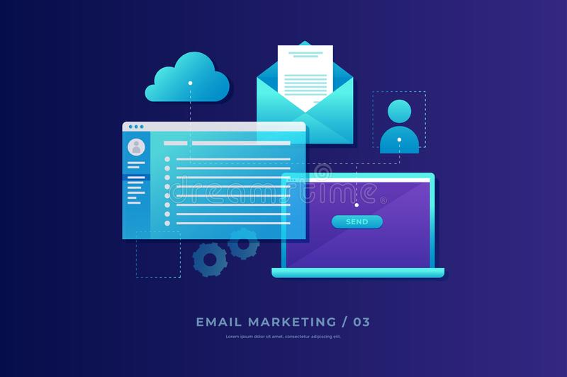 Communication concept, information dissemination, sending email. Laptop with open screen, open email and cloud storage. Communication, information dissemination royalty free illustration
