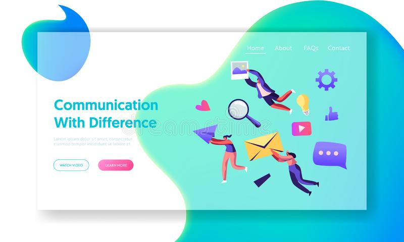 Communication Concept, People Holding in Hands Envelope, Paper Airplane, Photo. Social Media Networking, Internet Accounting stock illustration